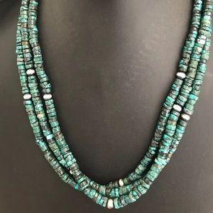 Vintage Sterling Silver 3 Strand TurquoiseNecklace